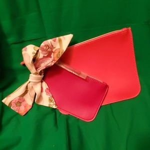 Two Small Estee Lauder cosmetics bags with scarf
